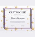 certificate template with golden decoration vector image vector image