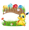 Chicken with brush and Easter eggs vector image vector image