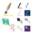 children toy cartoonblackflatmonochromeoutline vector image