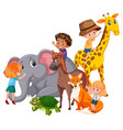 children with wild animals vector image