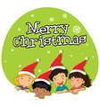 Christmas theme with kids in red hat vector image vector image