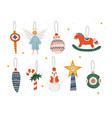 christmas three decorative elements hanging on vector image