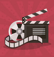 colorful background with film reel and vector image vector image
