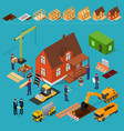 construction building concept 3d isometric view vector image