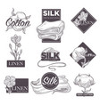 cotton and silk linen textile labels sketch vector image vector image