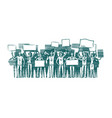 crowd of people with placards on demonstration vector image vector image