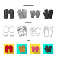 design of glove and winter icon set of vector image