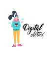 digital detox young female character with gadget vector image vector image