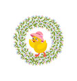 easter wreath and chicken vector image vector image