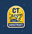 excavator and construction service badge banner vector image