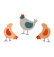 farm chickens eating food hen and rooster vector image