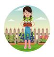 farmer pot plant work garden fence vector image vector image