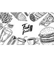 fast food background banner template in vintage vector image