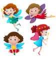 four cute fairies flying vector image vector image