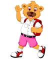 funny bear cartoon go to school vector image
