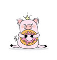 funny pig with donutisolated on white background vector image