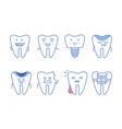 funny teeth characters set dentistry and vector image vector image