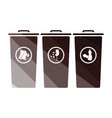 garbage containers with separated trash icon vector image vector image