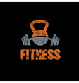 grunge kettlebell and barbell on black background vector image vector image