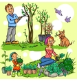 Happy family in garden vector image vector image