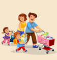 happy family making purchases together poster vector image