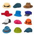 headwear hats men and women elegant vector image