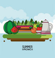 heaven background poster of summer picnic with vector image vector image