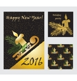 Holiday cards collection with golden glitter vector image