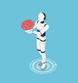 isometric ai robot holding human brain vector image