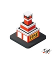Isometric fire department icon building city vector image vector image