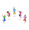 isometric flat concept jumping happy vector image vector image