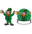 leprechaun character design with banner vector image