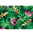 Lush tropical flowers and plants background vector image vector image
