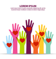 Many Colorful Hand Up With Heart At Middle Of Palm vector image vector image