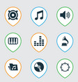 multimedia icons set with gramophone folder vector image vector image