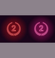 neon icon of red and pink second place vector image