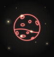 neon planet mars icon in thin line style vector image