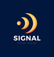 orange station signal sound or wireless wave logo vector image