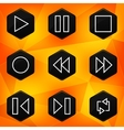 Player Hexagonal icons set on abstract orange vector image