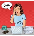 Pop Art Business Woman has a Headache at Office vector image vector image
