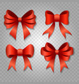 red bow set isolated on transparent background vector image