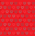 red seamless pattern with pencil drawn hearts vector image vector image
