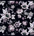 set floral corners on black background vector image