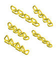 set isometric golden chains vector image vector image