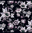 set of floral corners on black background vector image