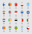Set of national flag with stand vector image vector image
