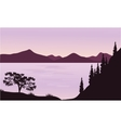 Silhouette of sea and mountain vector image vector image