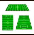 soccer field set green european football field vector image