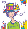 Student with books data infographics vector image vector image