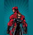 superhero couple ray light vertical background vector image vector image